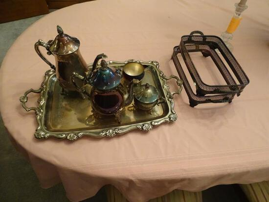 Silver Coffee and Tea Service w/ serving tray and 2 other pieces