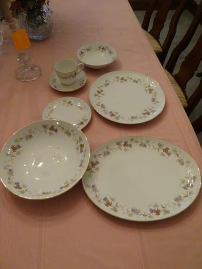 Halsey Rivera Fine China-Japan-8 plates/cups/saucers/bowls. Serving bowl/platter, Salt/Pepper shaker
