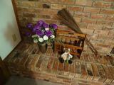 Items on hearth-flowers, magazine rack, broom, stuffed animal