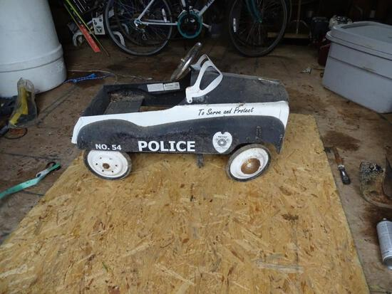 """Vintage Pedal car-No. 54 Police, """"To Serve and Protect"""" Metro' City's Finest."""