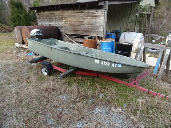 "Jon Boat-small-w trailer, 2"" ball-7.5HP"