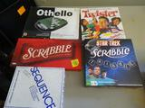 5 Board Games: Othello, Twister, Scrabble, Star Trek Scrabble, Sequence