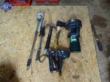 Propane Heater, Stanley Nail Gun, Slide Hammer, light, hatchet