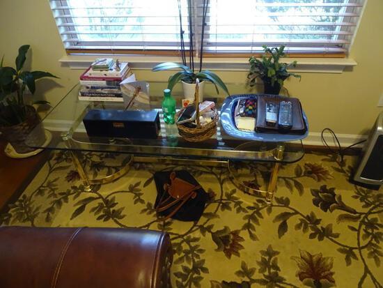 "Glass/chrome coffee table-50""W x 26"" D x 16""H"