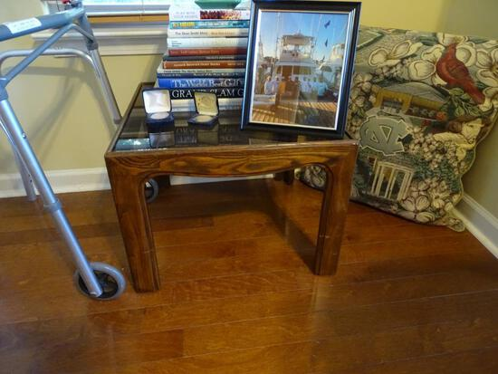 "Corner wood table w/glass top- 22""x22""x16""H"