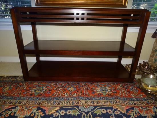 """Wooden side table with inlay. 48""""L x 18"""" D x 30"""" H."""