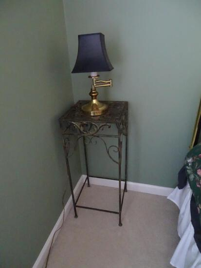 """Lamp and wrought iron stand. Stand is 30""""T, 13""""x13"""". Lamp is 16"""" H."""