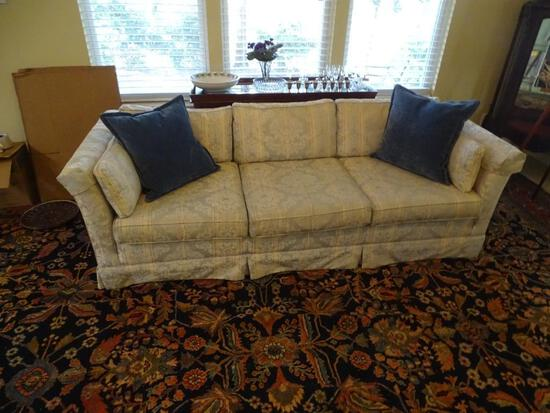"""Sofa and Matching Love Seat w/ pillows. Sofa measures 86""""L x 34"""" D x 26"""" H. Love seat - 6' L x 34""""D"""