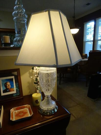 Pair of heavy cut glass table lamps