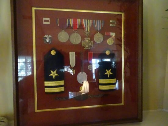 Framed Medals-Naval Reserve, WWII Victory, Sons of Confederacy, American Campaign, Collar Rank Pins,