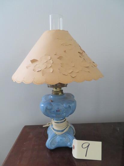 BLUE OVERLAY OIL LAMP