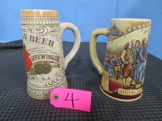 2 STEINS- # 93408 BIRTH OF A NATION & #127427 B. STROH BREWING