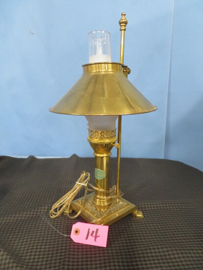 BRASS DESK LAMP WITH PARIS/ISTANBUL ORIENT EXPRESS EMBLEM
