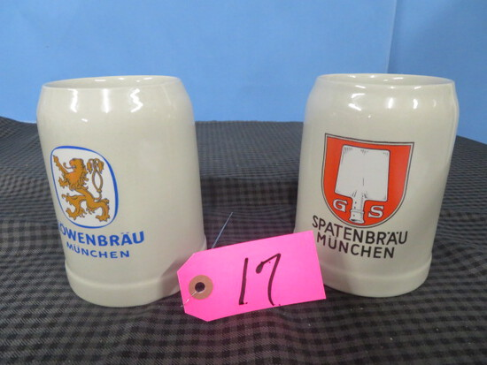 2 GERMAN MUGS MUNCHEN- LOWENBRAU .51 GERZ
