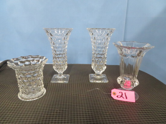 4 PCS. CUT GLASS