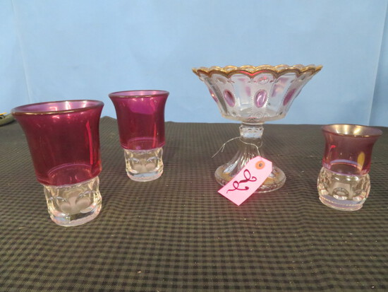 "4 PCS. CRANBERRY GLASS W/ 7"" T CANDY DISH"