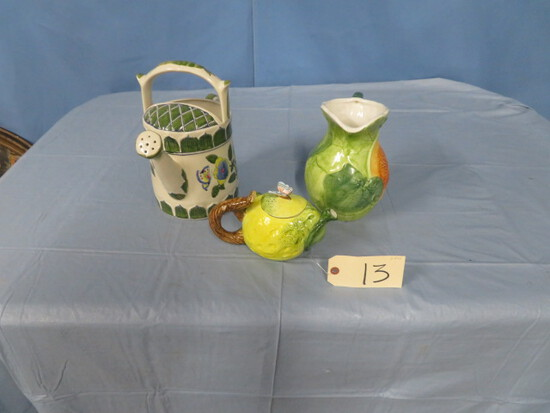 3 PC. FRUIT DECANTERS & WATER PITCHER