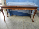 LANE WINDOW TABLE SERIAL # 2988270 W/ BALL & CLAW FT & GLASS TOP  54 X 18 X 26T