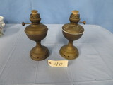 PAIR OF BRASS OIL LAMPS