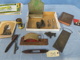 MISC.LOT OF TOOLS, CIGARETTE ROLLER, MAIL BOX, BABY SHOES