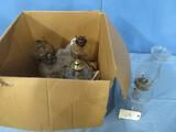 BOX OF ANTIQUE OIL LAMPS