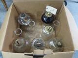 BOX OF OIL LAMPS