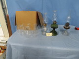 MIXED LOT OF OIL LAMPS W/ EXTRA CHIMNEYS