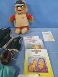 TEDDY RUXPIN BEAR W/ BOOKS & CLOTHES