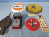 MIXED LOT OF THERMOMETER, BELLOWS, COCA CLOCK, ROOTBEER CLOCK