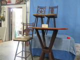 BISTRO TABLE W/ 3 METAL CHAIRS   35