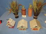 3 BIRDHOUSES & 4 PLANTS