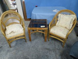 2- BAMBOO CHAIRS AND 1 SIDE TABLE