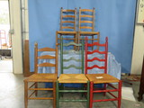 5 LADDER BACK CHAIRS W/ ROPE BOTTOM NICE