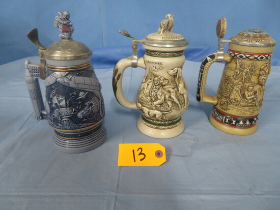 3 GERMAN STEINS BY AVON- AMERICAN FRONTIER, GREAT DOGS OF THE OUTDOORS, CONQUEST OF SPACE