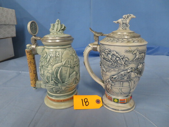 2 STEINS- CHRISTOPHER COLUMBUS & JOCKEY AT HORSE TRACK