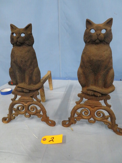 CAST IRON  CAT FIREPLACE IRONS