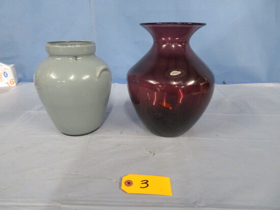 BLENKO HAND CRAFT PURPLE VASE & MILK GLASS PC