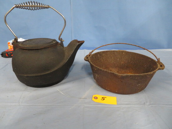 CAST IRON KETTLE AND POT