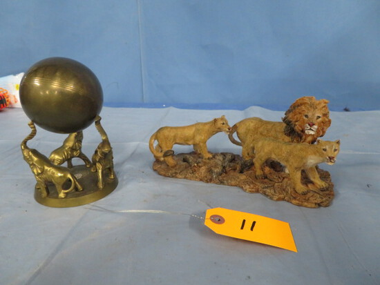 BRASS ELEPHANT PC & LION STATUE PC
