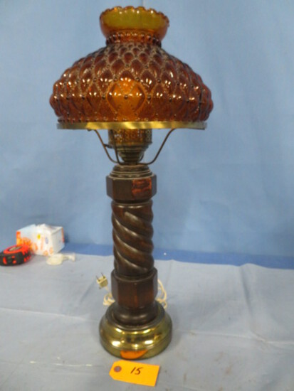 "AMBER ROSE LAMP W/ GLASS SHADE  24""T"