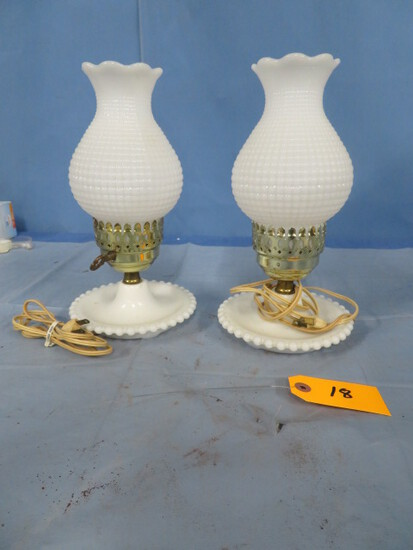 2- WHITE MILK GLASS HOBNAIL GLASS LAMPS