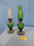 2 GREEN GLASS OIL LAMPS