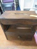 WOODEN SHOE SHINE PC. W/ PULLOUT STOOL