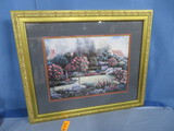 GOLD FRAMED COUNTRY GARDEN PC 29 X 35