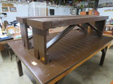 Large farmhouse table w/ 2 benches  94 x 59 x 38