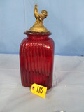 RED GLASS ROOSTER CANNISTER  16
