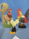 3 WOODEN ROOSTER FIGURINES
