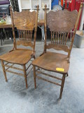 2 PRESS BACK DINING CHAIRS