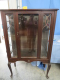 ANTIQUE GLASS FRONT CHINA CABINET W/ WOODEN SHELVES  38 X 60 X 16