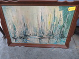 OIL ON BOARD OF SAILBOATS FRAMED  41 X 29